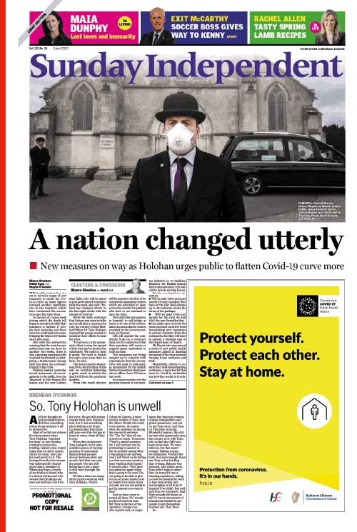 Front page Sunday Independent (5 April).