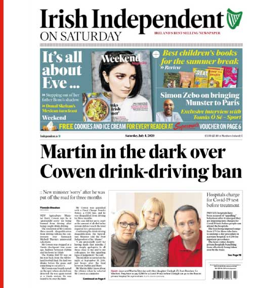 Irish Independent (4 July) on a new minister's drinking and driving behaviour.