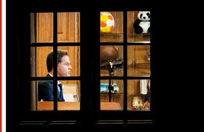 Prime minister Mark Rutte during his first TV speech in the spring of 2020. Photo by Sem van der Wal/ANP